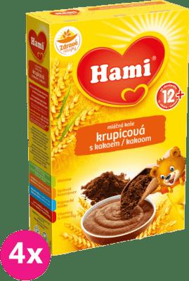 4x HAMI kaša krupicová s kakaom (225 g) - mliečna kaša