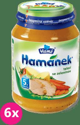 6x HAMÁNEK Telecí se zeleninou (190 g) - maso-zeleninový příkrm
