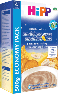 HIPP BIO Mliečnoobilninová kaša na dobrú noc banánová so suchármi 500 g
