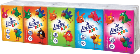 LINTEO Kids Papírové kapesníky Mini 10x10, bílé, 3 vrstvé