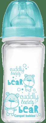 CANPOL BABIES Láhev EasyStart PURE glass 240 ml modrá