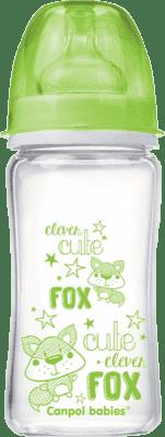 CANPOL Babies 79/002 Fľaša EasyStart PURE glass 240 ml – zelená