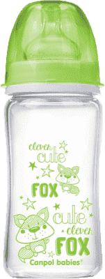 CANPOL Babies Láhev EasyStart PURE glass 240 ml zelená