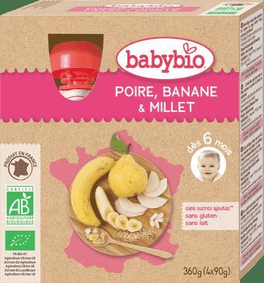 4x BABYBIO Kapsička hruška banán proso 90 g
