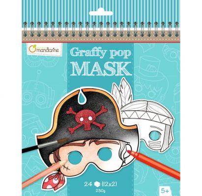 AVENUE MANDARINE Karnevalové masky na vymaľovanie pre chlapcov