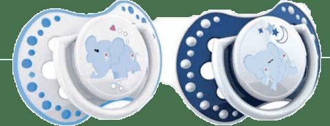 LOVI Dudlík silikonový dynamický NIGHT&DAY 6-18m 2ks modrý sloník