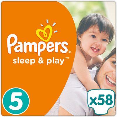 PAMPERS Sleep & Play 5 JUNIOR 58ks (11-18 kg) JUMBO PACK - jednorázové plienky