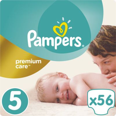PAMPERS Premium Care 5 JUNIOR 56 ks (11-18 kg) JUMBO PACK- jednorazové plienky