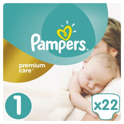 PAMPERS Premium Care 1 NEWBORN 22ks (2-5kg) CARRY pack - jednorazové plienky