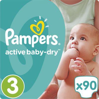 PAMPERS Active Baby 3 MIDI 90ks (4-9kg) GIANT PACK - jednorázové plienky