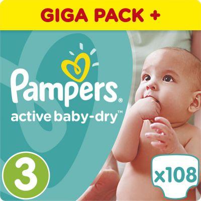 PAMPERS Active Baby 3 MIDI 108ks (4-9 kg) GIANT BOX PLUS - jednorázové pleny