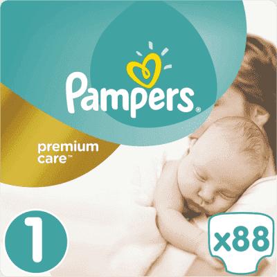PAMPERS Premium Care 1 NEWBORN 88 szt. (2-5kg), VALUE PACK - pieluchy jednorazowe