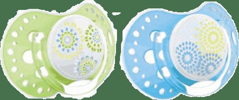 LOVI Cumlík silikónový dynamický TRENDY 3-6m 2ks modrý / zelený