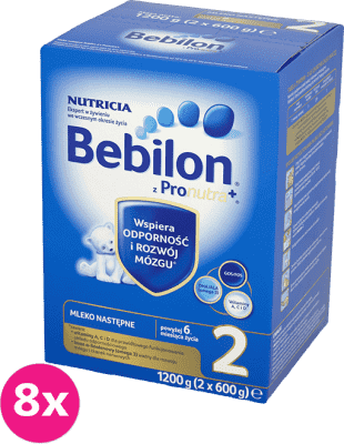 8x BEBILON 2 z Pronutra+ mleko dla niemowląt powyżej 6 miesiąca (1200g)