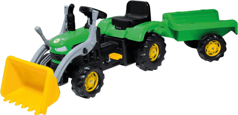 BUDDY TOYS Šlapací traktor s vozíkem a lžící