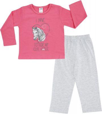 JACKY Pyžamo dvojdielne dlhé, veľ. 122/128 - ružová, dievčatko