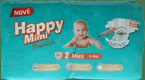 HAPPY MIMI dětské pleny Premium Mini 62 ks