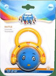 CANPOL Babies Chrastítko smějící se míček – žlutý