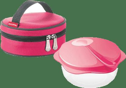 TESCOMA Cestovná miska s lyžičkou BAMBINI s termotaškou – ružová