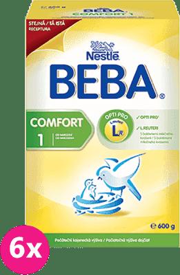 6x NESTLÉ BEBA Comfort 1 (600 g) - dojčenské mlieko