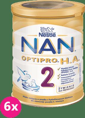6x NESTLÉ NAN OPTIPRO H.A. 2 (400 g) Mleko modyfikowane dla niemowląt powyżej 6. miesiąca