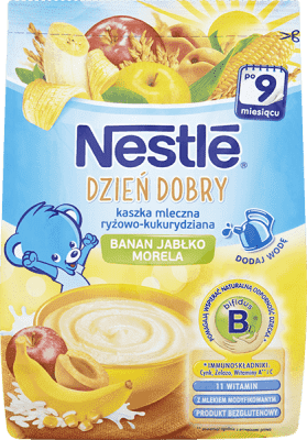 NESTLÉ Dzień dobry Kaszka mleczna ryżowo-kukurydziana banan, jabłko, morela (230g)