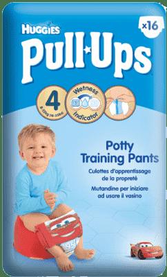 HUGGIES® PULL-UPS vel. 4 (8-15 kg), 16 ks – chlapecké tréninkové kalhotky