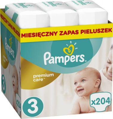 PAMPERS Premium Care 3 MIDI 204 szt. (5-9 kg), ZAPAS NA MIESIĄC - pieluchy jednorazowe