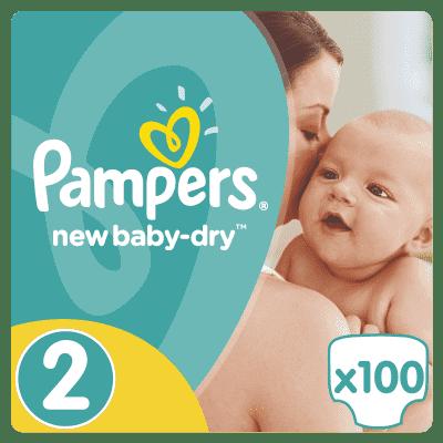 PAMPERS New Baby-dry MINI 2, 100ks (3-6kg) GIANT Box - jednorazové plienky