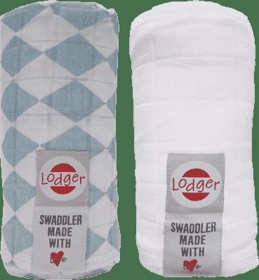 LODGER Multifunkčný osuška Swaddler balenie 2ks - Silvercreek / White