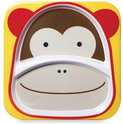 SKIP HOP Zoo Talířek melaminový dělený 2v1 Opička 6 m+