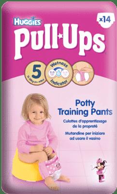 HUGGIES® PULL-UPS veľ. 5 (11-18 kg), 14 ks - dievčenské tréningové nohavičky