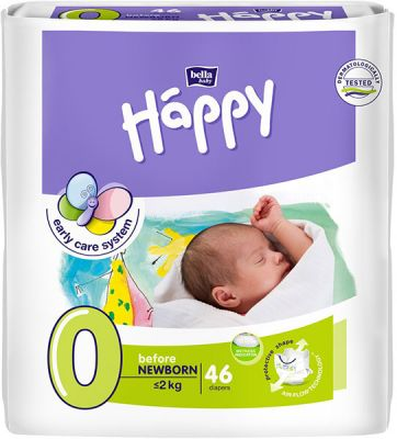 BELLA HAPPY Before Newborn 0 (do 2 kg) 46ks - jednorázové pleny