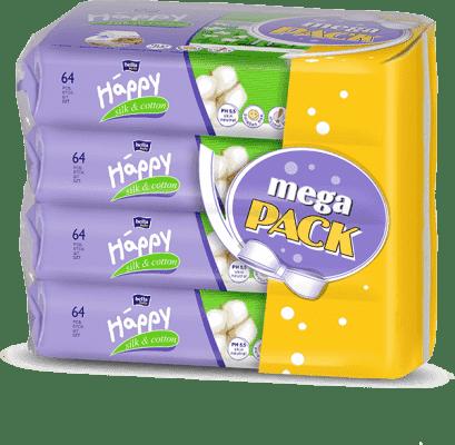 4x BELLA HAPPY BABY Chusteczki nawilżane jedwab i bawełna 64 szt., MEGA PACK