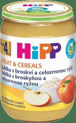 HIPP BIO Jablká s broskyňou a celozrnnou ryžou (190 g) - ovocný príkrm