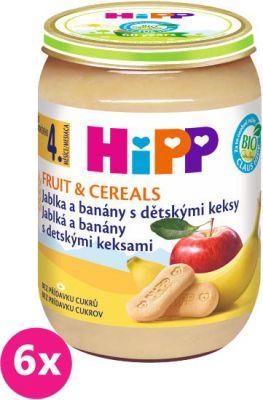 6x HIPP BIO Jablká a banány s detskými keksami (190 g) - ovocný príkrm