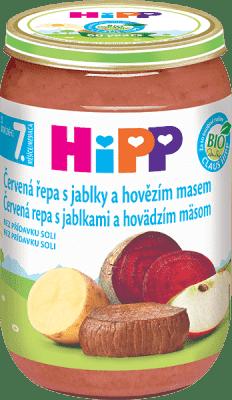 HIPP BIO Červená řepa s jablky a hovězím masem (220 g) – maso-zeleninový příkrm