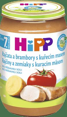 HIPP BIO Zemiaky s paradajkami a kuraťom 220 g - mäsovo-zeleninový príkrm