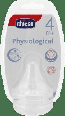 CHICCO Smoczek Physio na butelkę silikonowy 4M+ Przepływ Szybki 2 Szt.