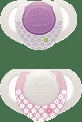 CHICCO Smoczek kauczukowy, 0+, kolor różowy, 2 szt