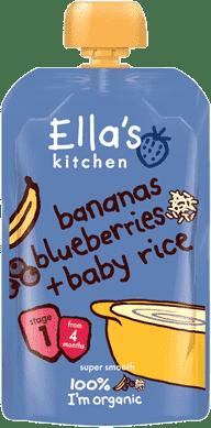 ELLA'S Kitchen Detská ryža - Banán a čučoriedky 120g