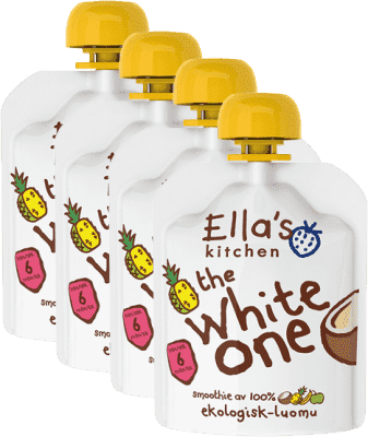 4x ELLA'S Kitchen, Ovocné pyré - White One (Kokos) 90 g
