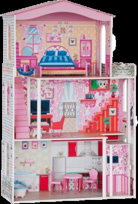 WOODY Domek duży (dla lalek typu Barbie). Mebelki - 7 szt.
