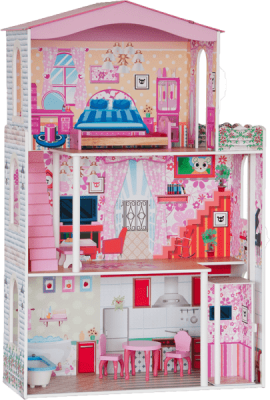 WOODY Domček - Veľký , 7ks nábytku (pre bábiky TYPU Barbie )