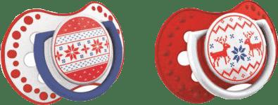 LOVI Smoczek uspokajający 2szt, 3-6m, kolekcja WINTER (czerwony)