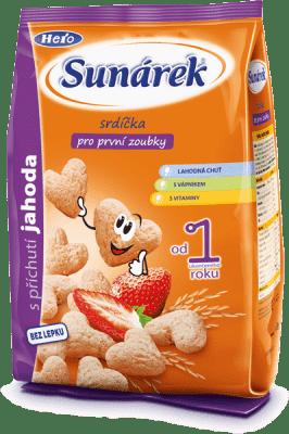 SUNÁREK Detský snack jahodové srdiečka (50 g)