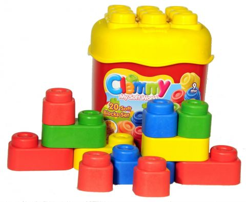 CLEMENTONI Clemmy baby - 20 kolorowych klocków, podstawowe kolory