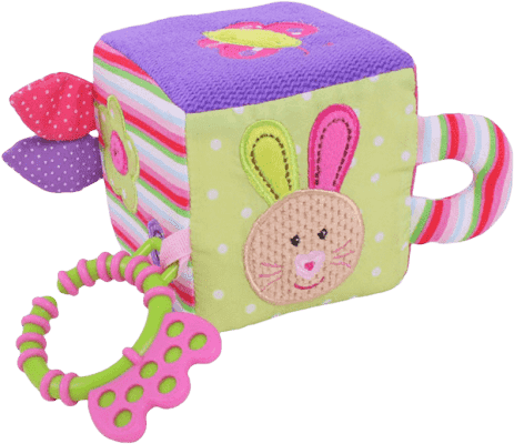 BIGJIGS Textilné motorická kocka - Králíček Bella