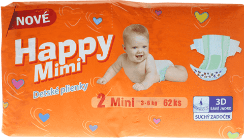 HAPPY MIMI Pieluszki Standard Mini 62 szt.