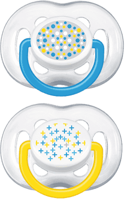 AVENT Cumlík Sensitive Fantazie 2ks (silikón) 6-18 m, modrý+žltý